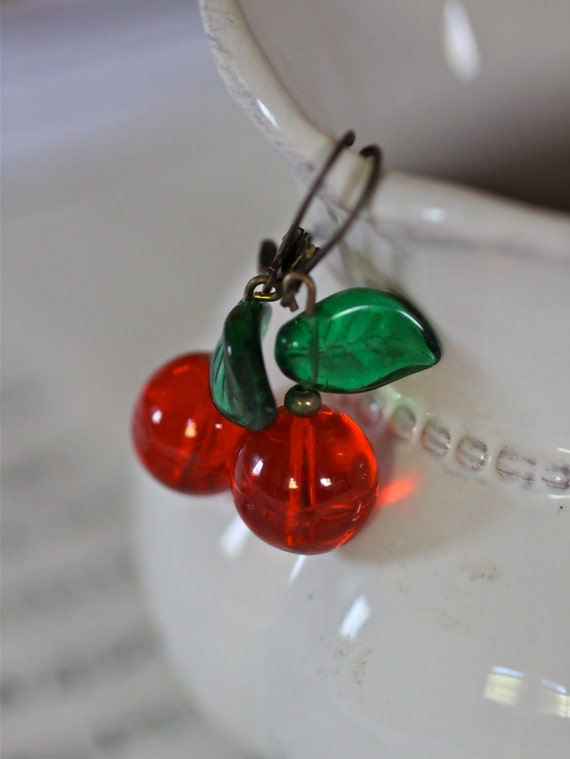 Vintage glass bead cherry dangle antique brass earrings red green sweet