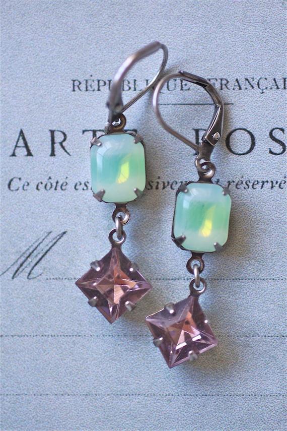Lime white purple antique silver earrings dangle fresh fun lever back