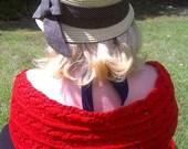 Handknit Cotton Red Lace Twin Leaf Motif Shawl/Wrap