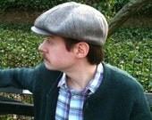 Vintage Men's Brown Herringbone 100% Wool Newsboy Cap