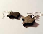 Texas Earrings - Wooden State Shaped