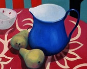 Still life oil painting of 'The Blue Milk Jug'. Hand mounted and titled fine art print