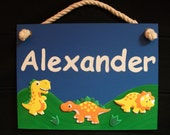 Personalized Dinosaur Name Sign for Boy's Room - blue & green hand painted and decorated with velvet dinosaur stick-on's
