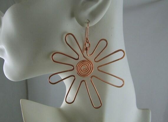 Large flower Copper earrings.  FREE SHIPPING in the U.S.