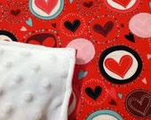 Minky Dot White Red Pink Hearts Valentines Day Baby Blanket
