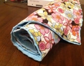 Minky Dot Baby Blue Floral Baby blanket