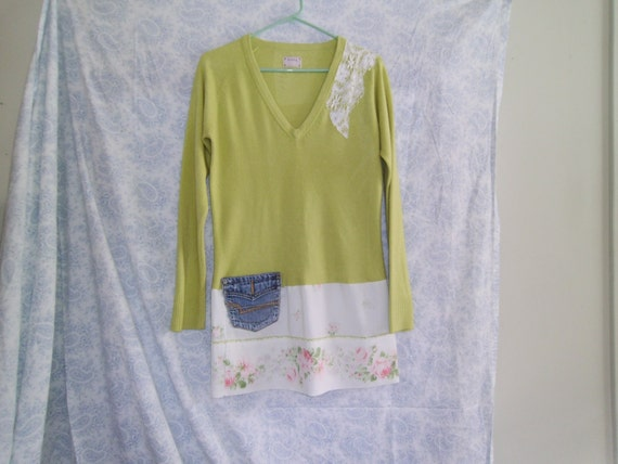 Upcycled Tunic / Dress made of plashmere and vintage linen with denim pocket . Size XS-S. Ready to ship.