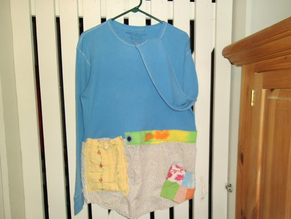 Upcycled babydoll shirt or mini dress. So funky and fun, lots of hand appliques. Size M-L.