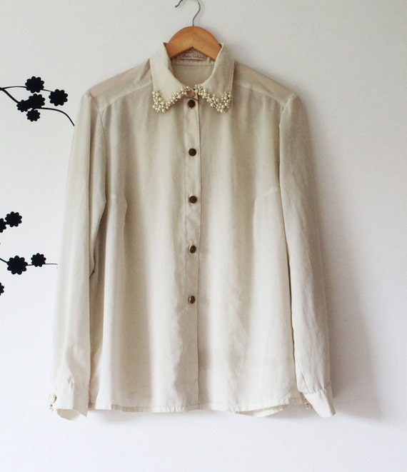 ReMade: Up-cycled Vintage cream oversized shirt with pearl beading detail on the collar and cuffs