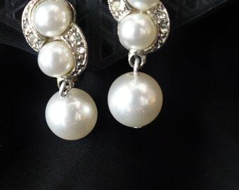 Pearl and rhinestone vintage drop earrings