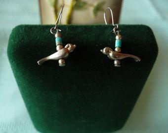 Blue bird and silver vintage pierced earrings