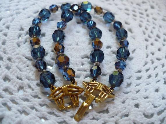 Sapphire Swarovski crystal bracelet - vintage - by Marvella