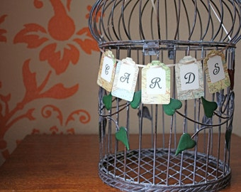 Wedding Cards banner, tag style banner for your gift table.  Vintage atlas design.  Add to birdcage, suitcase, card box.