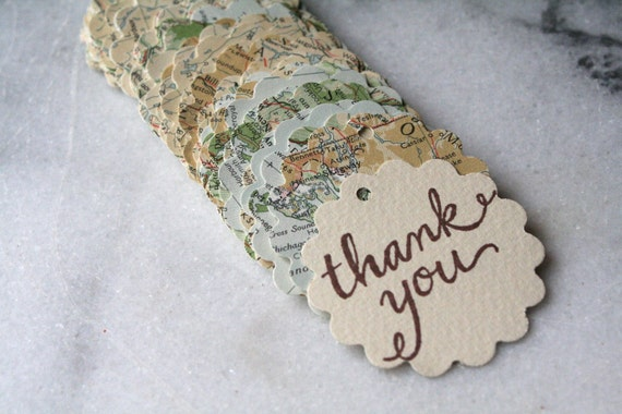 For Betty- Wedding favor tags, 100, with hand-stamped thank you message, vintage atlas design