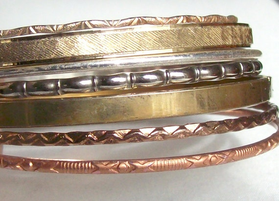 Mixed Metal Bangle Bracelets
