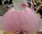 "SALE Pink Tutu With Classic Bling Baby ""Necklace"" Onesie"