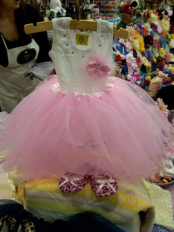 """SALE Pink Tutu With Classic Bling Baby """"Necklace"""" Onesie"""