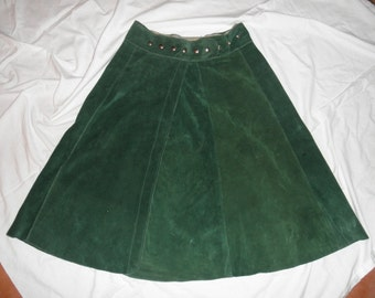 Vintage Suede Leather Wrap Skirt
