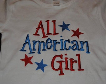 All American Girl Custom embroidered saying shirt or one piece w/snaps, Toddlers Girls, Boys
