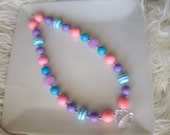 Girls Necklace- Chunky Necklace- Turquoise, Bubblegum Pink, and Lavender Necklace