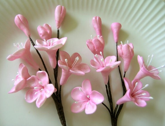 CHERRY BLOSSOM STEMS  / Gum Paste Flowers / Edible Cake Topper and Cupcake Decorations