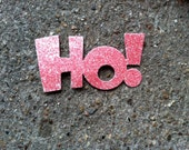 red glittery ho ho ho glitter arts and crafts  cut outs for Christmas, xmas, Santa claus holiday scrapbook supplies