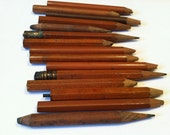 Mini retro pencils, vintage office chocolate brown wooden pencils art, miniature craft supply art