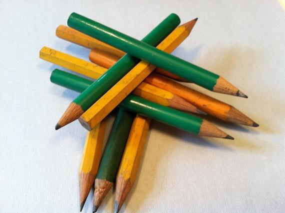 Vintage wood mini pencils yellow green, retro cute small vintage wooden pencil
