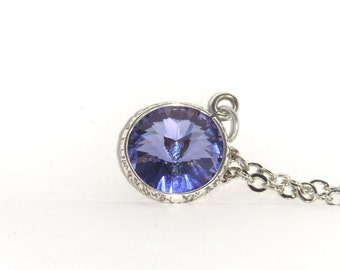 Swarovski Necklace, Rivoli Pendant-Tanzanite