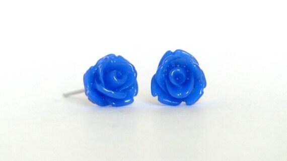 Rose Stud Earrings in Royal Blue