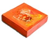 6X6 Gallery Style Canvas - Original Abstract Canvas Painting - Orange, Red, Pink, Yellow, White, and Green