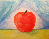 Apple Water Color Drawing - Original Painting Using Water Color Pencils