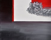 Original Abstract Canvas Art on 10 X 10 Gallery Style Canvas - Red, White, Black, and Gray