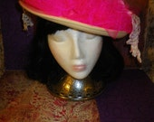 Cream and HOT Pink sun hat