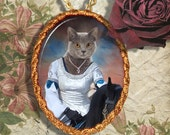 Blue Cat Chartreux Jewelry Pendant Necklace - Brooch Handcrafted Ceramic