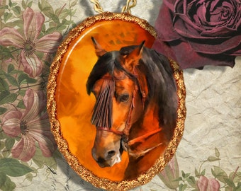 Bay Spanish Horse Andalusian , Lusitano Jewelry Pendant - Brooch Handcrafted Ceramic