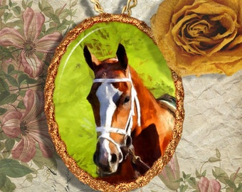 Chestnut Horse Thoroughbred Horse Jewelry Pendant or Brooch Handcrafted Ceramic