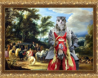 Tabby Cat Scottish Fold Fine Art Canvas Print -  Philippe Francois d'Arenberg meeting Troops