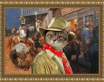 Tabby Cat American Shorthair Fine Art Canvas Print - Hello Boys