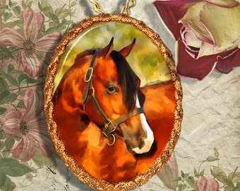 Bay Horse Western Quarter Horse Jewelry Pendant - Brooch Handcrafted Ceramic