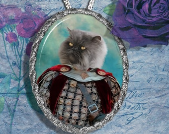 Blue Persian Cat Jewelry Pendant Necklace - Brooch Handcrafted Ceramic