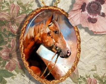 Appaloosa Horse Jewelry Pendant Necklace Handcrafted Ceramic