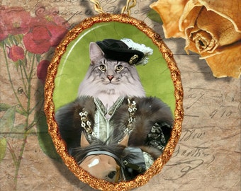 Cat Norwegian Forest Cat or Maine Coon Jewelry Pendant Necklace - Brooch Handcrafted Ceramic