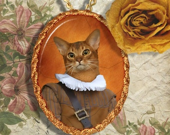 Abyssinian Cat Jewelry Pendant - Brooch Handcrafted Ceramic