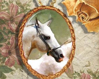 White Horse Andalusian Jewelry Pendant Necklace Handcrafted Ceramic