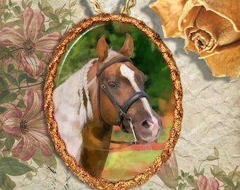 Palomino Horse Morgan Horse Jewelry Pendant - Brooch Handcrafted Ceramic
