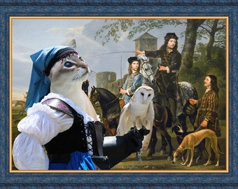 Siamese Balinese Cat Fine Art Canvas Print - A hunting with Lady Owl