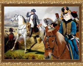 Cat White British Longhair or Persian Cat Fine Art Canvas Print - Napoleon Battle