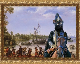 Cat Black Bombay Fine Art Canvas Print - Departure for Delft