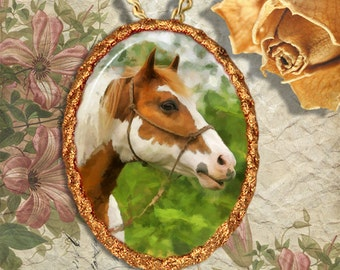 Paint Horse Pinto Horse Jewelry Pendant  - Brooch Necklace Handcrafted Ceramic